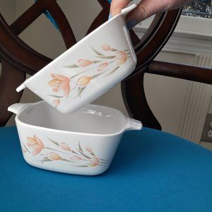 Peach Floral Pink Flowers Corning Ware Dishes 700m